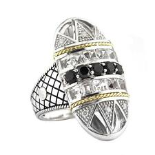 Andrea Candela 18k Gold & Silver Art Deco Black Spinels Cable Ring ACR251/07-SWT