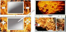 nintendo DS Lite - FLAMING SKULLS  4 Piece Decal Sticker Skin vinyl