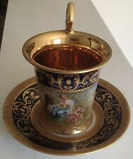 Signed K Wek ~Royal Vienna Hand Painted Porcelain Cup & Saucer circa 1800's