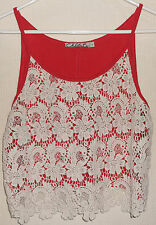 Chloe K Womens Tank Blouse Red White Lace Overlay Sleeveless Shirt Top Size Lar
