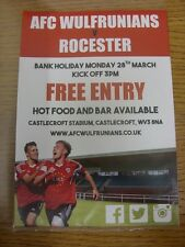 28/03/2016 Flyer/Poster: AFC Wulfrunians v Rocester (Free Entry Flyer). Any faul