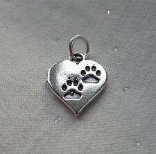 Huellas en corazón encanto plata esterlina 925 Perro Gato amantes
