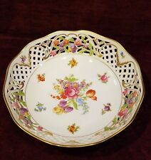 "Oscar De La Renta Fine China West Germany Reticulated Bowl 9"" Floral Gold Trim"