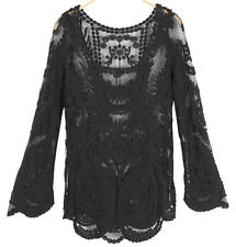 tp65 Celebrity Style Vintage Loose Fit Floral Crochet Lace Long Sleeve Tunic Top