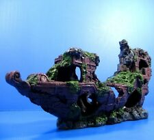 Sunken Ship-wreck 43cm Aquarium Ornament Decoration Ancient NAVY cave fish tank