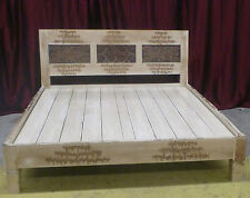 Balinese Furniture Hand Carved Recycled Timber Rare Antique Panel Cream King Bed