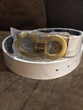 Salvatore Ferragamo Mens White/Gold Belt 110cm (fits Sizes 34 - 40)