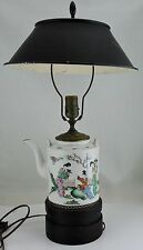 ANTIQUE CHINESE TEAPOT PORCELAIN LAMP TOLE SHADE WOOD BASE FAMILLE SIGNED RARE