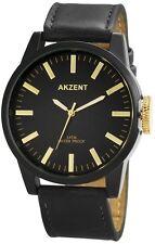 Armbanduhr Lederband schwarz Gold Uhr Unisex Herrenuhr Damenuhr Klassisch Wotch