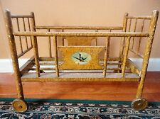 ANTIQUE Baby Doll crib Vintage Doll Bed with Birds Applied on sides wooden WHEEL