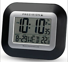Precision Radio Controlled Large Screen LCD Wall Or Desk Clock Black PREC0097