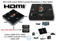 3 Port HDMI Splitter Adaptor w/ 1080p Output. 3x Inputs, Push-button Switching!