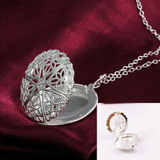 Women Child Silver 3D Hollow Round Photo Charms Locket Necklace