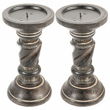 2 x 20cm Twist Wooden Candle Sticks Holders Vintage Carved Pillar Church Rustic
