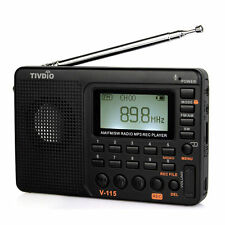 TIVDIO Portable FM/AM/SW radio Bass Sound MP3 Player REC Voice Recorder Hot AS