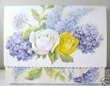 Carol Wilson 10 Blank Note Card Lace Borders Stationery Yellow White Roses New