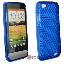 Cover Custodia Per HTC ONE V Blu Diamond Silicone Gel + Pellicola Salva Display