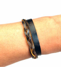 Mens ICON BRAND Brown Leather Weave & Wrap Wrist Bands Bracelet One Size