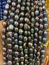 8-9MM Black irregular freshwater pearl loose beads 15 ""