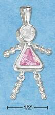 STERLING SILVER PENDANT OCTOBER BIRTHSTONE GIRL WITH A FREE NECKLACE