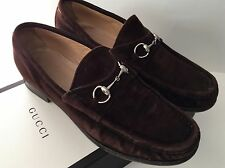 Classic GUCCI Brown Suede Silver Horsebit Loafers Sz 8.5
