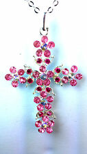 BEAUTIFUL PINK  SPARKLING STONE CROSS NECKLACE BRAND NEW GORGEOUS CUTE CHIC