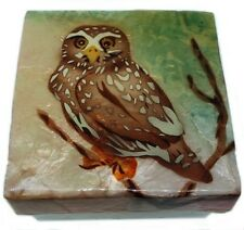 OWL   ~  CAPIZ SHELL TRINKET BOX       1794*