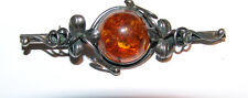 ANTIQUE ? VINTAGE BEAUTIFUL STERLING SILVER 8 gr AMBER PIN / BROOCH