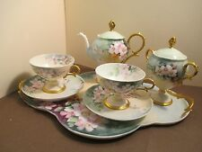 Limoges France Elite1900's  Rose Floral Tray Tea Set - 9 Pieces -Good Condition