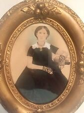 Gothic Portrait Teenage Girl In Black Lace Gloves 1800's Nut & Berry Frame.
