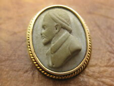 Vintage 14k Tested W/Base Metal Lava Cameo Pin
