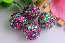 (8) - 20mm confetti green pink purple rhinestone bead for chunky bead necklace