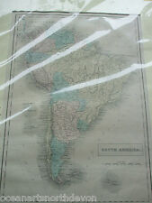 ANTIQUE MAP LARGE SOUTH AMERICA COLOUR C1853 MOUNTED WORLD ATLAS GEOGRAPHY