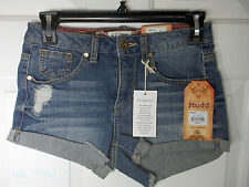 Mudd Ladies Denim Cut Off Shorts High Waist Dolphin Frays Size 0 MSRP $34