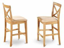 Set of 2 bar stools kitchen counter height chairs w/ padded seat in light oak