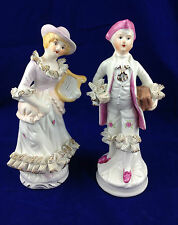 porcelain couple figurine french maiden harp white wigged gentleman with book