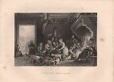 1850 PRINT - ALLOM - FRANCE- A CABARET IN THE PYRENEES, RAINY DAY
