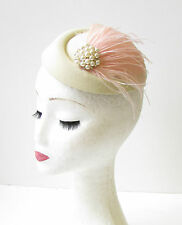Cream Blush Light Pink Feather Pillbox Hat Races Fascinator Headpiece Vtg 1969