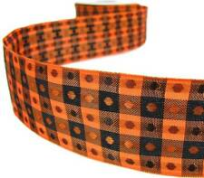 "5 Yd Halloween Orange Black Polkadot Grid Woven Wired Ribbon 1 1/2""W"