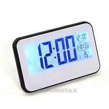 LED Digital Display Clock Voice Control Alarm Blue Backlight Calendar Temp ℃ ℉