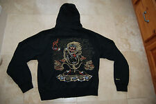 Black Zip Front MARC ECKO Hooded Sweatshirt w/ Embroidered Scary Faces 2XL