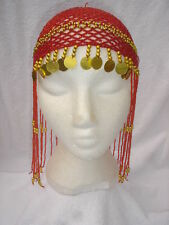 Ladies Egyptian Cleopatra Queen Of The Nile Red Headpiece Fancy Dress Wig