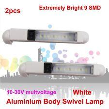 2X 12V 24V White 9 LED Swivel Lamp Boat Strip Trailer Cabinet Rigid light Bar