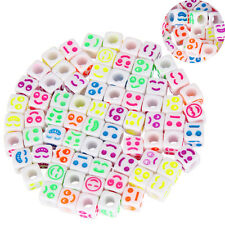 50pcs&6mm Wholesale New Mixed Acrylic Smiling Face Cube Colorful Beads Choose