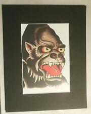 "Matted Print Ed Hardy Tatoo Art Gorilla  8 x 10"" Sealed Red Mat"