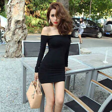 Sexy Women off Shoulder Boat Neck Club Party Bodycon Mini Dress Skirt Black