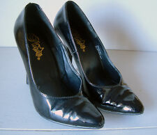 Pleaser Pumps, Pointed Toe, Classic Black High Heels, Patent Shoes, size 8