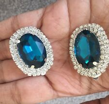 "1.3"" Clip On Teal Blue Silver Rhinestone Crystal Pageant Big Earrings"