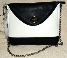 New Bodhi  $199 i pad Handbag chain Pebble leather Black & White envelope