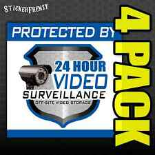 Protected By 24 Hour Video Surveillance Decal 4 Pack #FS012x4 - Security sticker